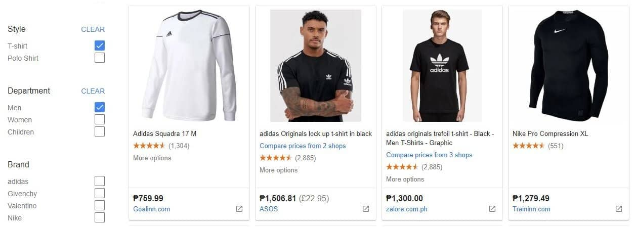 Google Shopping snippet