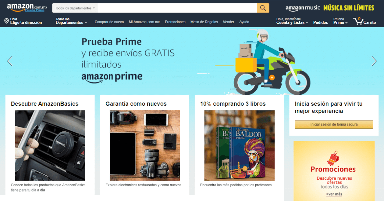 Amazon in Mexico website screenshot