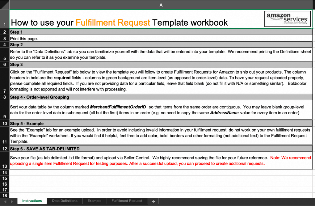 Image of the fulfillment request template available at Amazon MCF