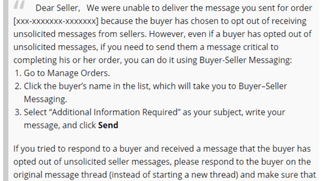disattivare i messaggi acquirente-venditore