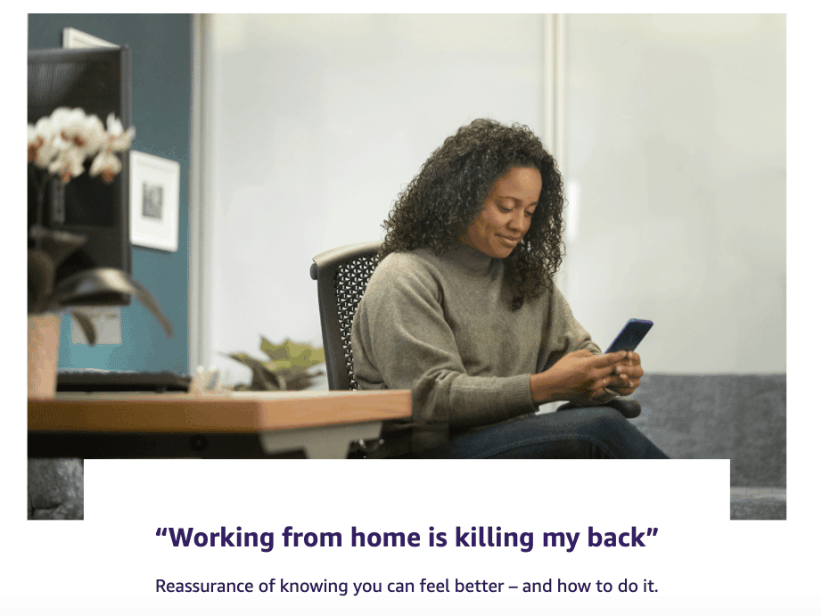 Woman working from home contacting the Amazon Care Team